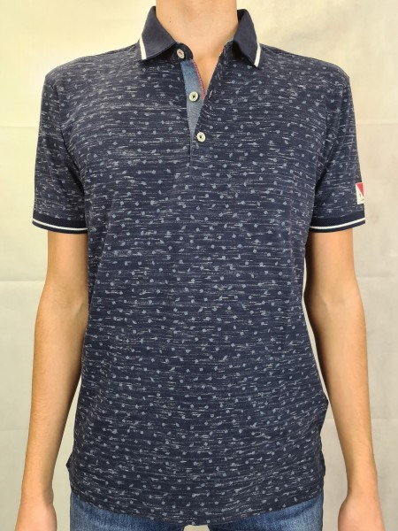"Polo Shirt Lerros marineblau ""Allover-Druck"""
