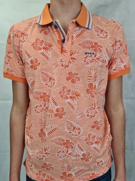Polo Shirt NZA orange Blätterprint Heron