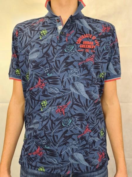 Polo Shirt Lerros blau Blätterdruck